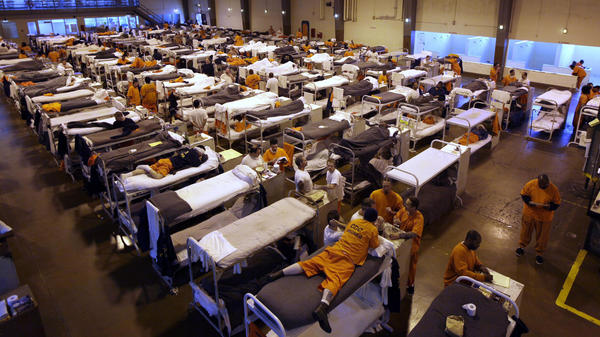 When state prison populations were at their peak, prisons like San Quentin in California used gymnasiums to house inmates in bunks. Now it's the federal prison system that's overcrowded. The Bureau of Prisons says it's 35 to 40 percent over capacity.