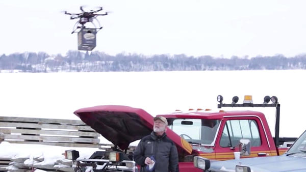 A video showing beer being delivered to ice fishermen on a frozen lake became a hit this week — but the FAA says Lakemaid Beer's drone days are over, for now.