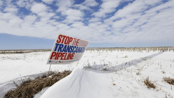 A protest of the Keystone XL pipeline last March along its proposed route near Bradshaw, Nebraska.
