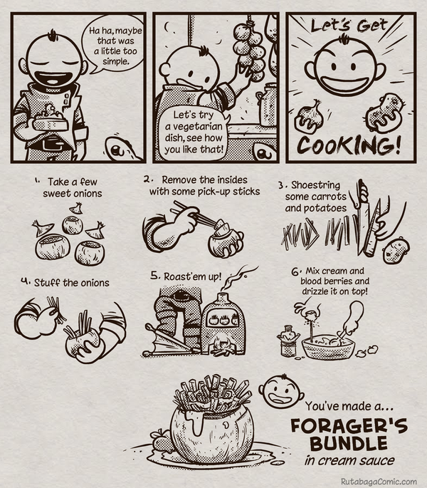 <em>Rutabaga: Adventure Chef</em> is a web comic created by Eric Feurstein that follows the fantasy styled exploits of the chef and a sidekick cauldron.