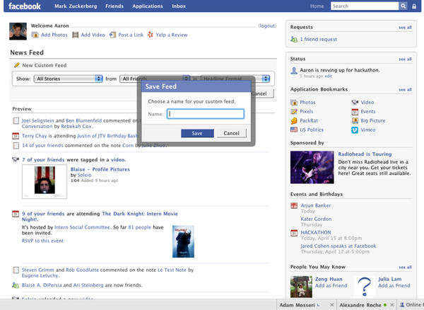 2008: A new News Feed brings the launch of Facebook Chat.