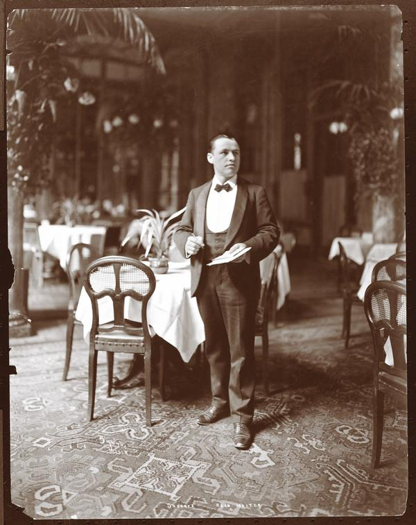 """Sherry's head waiter, 1902, Byron Company. (From the book """"Repast: Dining Out at the Dawn of the New American Century, 1900-1910"""" by Michael Lesy and Lisa Stoffer)"""