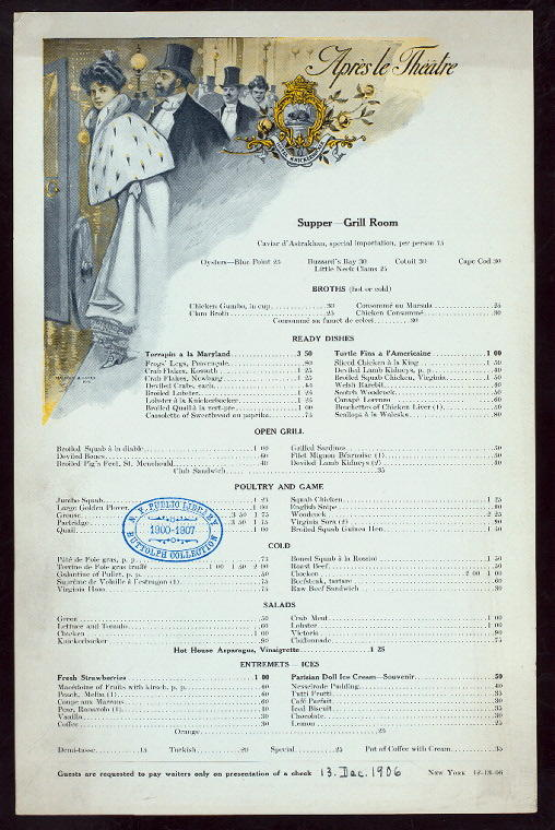 Menu for Hotel Knickerbocker in New York, 1906. (New York Public Library's Buttolph Menu Collection)