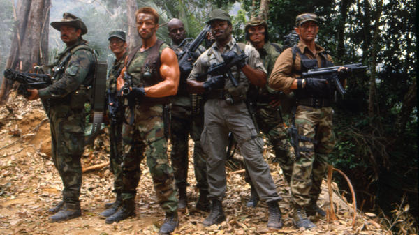 Three of the seven cast members shown here on the set of the 1987 film <em>Predator</em> would later run for governor in their home states. Two of them, Jesse Ventura and Arnold Schwarzenegger, won. Sonny Landham (second from right) lost.
