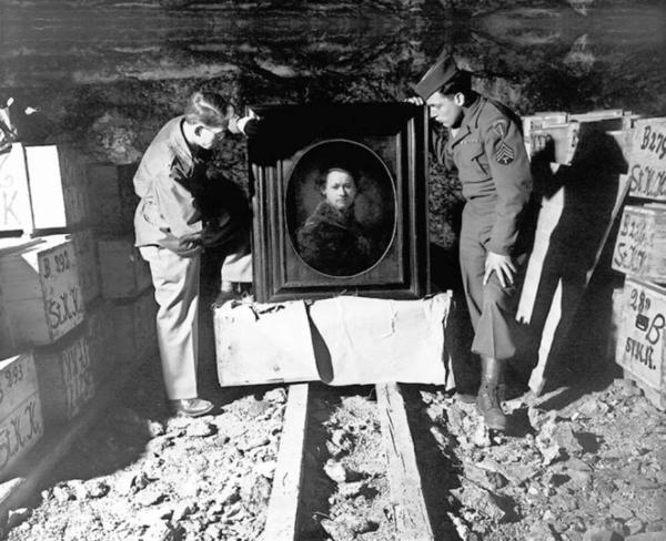Sgt. Harry Ettlinger (right) and Lt. Dale Ford were among the Monuments Men who, in 1945, helped repatriate a Rembrandt found among a trove of art in a German salt mine.