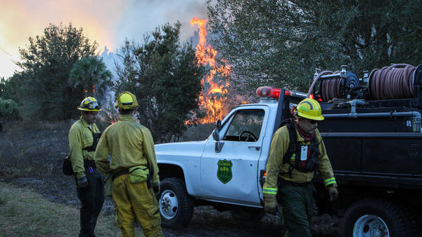 Crews work a controlled burn in Geneva, Fla., in December. The state's forest service has rolled out a system to track equipment during fires, and hopes it can eventually be used to pinpoint firefighters, too.