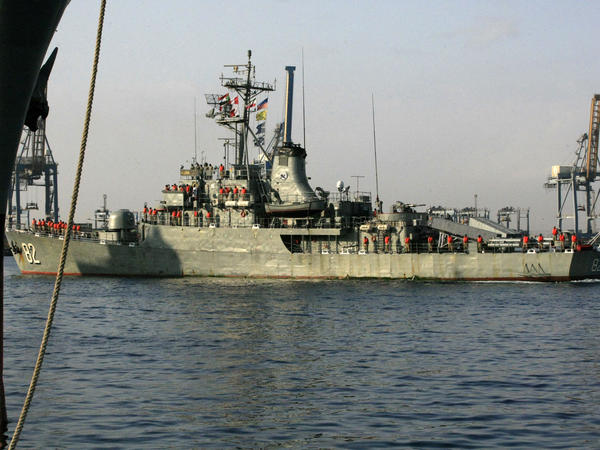 Iranian Navy destroyer Shahid Naqdi is pictured at Port Sudan, in October 2012.