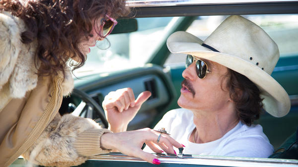 Rayon (Jared Leto) and Ron Woodroof (Matthew McConaughey) are fellow AIDS patients smuggling alternative medications into the U.S. in <em>Dallas Buyers Club, </em>directed by Jean-Marc Vallée.