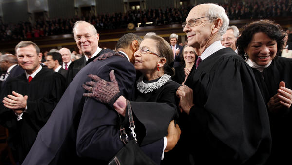 President Obama hugs Justice Ruth Bader Ginsburg prior to delivering his 2011 State of the Union address.