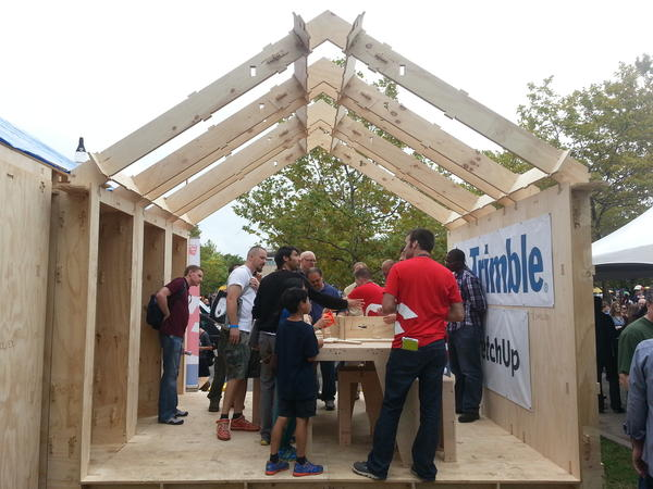 One of two WikiHouses assembled at Maker Faire in New York City.