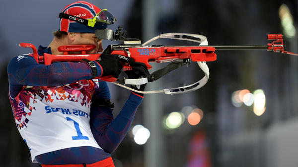 Ole Einar Bjoerndalen of Norway practices in Sochi on Monday.