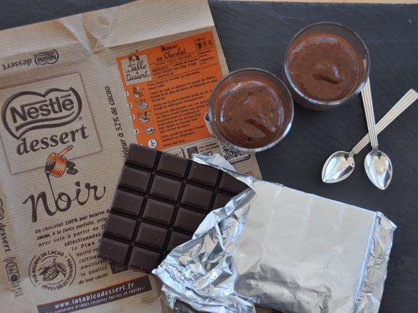 The chocolate mousse rests beside the candy bar culprit — the Nestle that hid the recipe in plain sight.