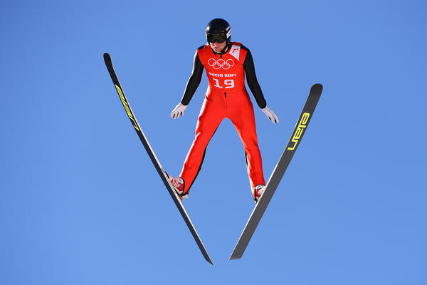 Peter Frenette of the United States jumps during training for the Men's Normal Hill Individual ahead of the start of the Sochi Games.
