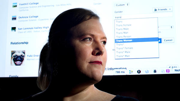 """Facebook software engineer Brielle Harrison demonstrates the website's expanded options for gender identification at her company's Menlo Park, Calif., headquarters. Harrison, who helped engineer the project, plans to switch her identifier to """"Trans Woman."""""""
