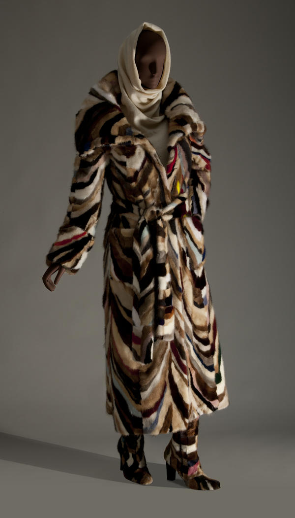 A patchwork fur coat and matching boots from Italian designer Laura Biagiotti, 2006.