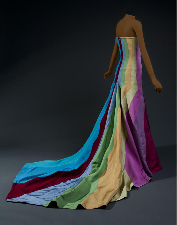 "The ""rainbow dress"" from American designer B Michael, 2007."