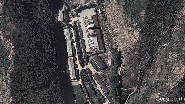 One of two suspected North Korean missile launcher assembly sites, as seen from Google Earth.