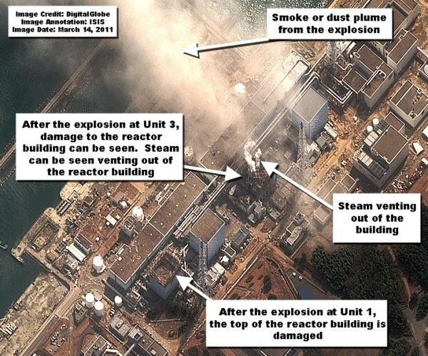 The Institute for Science and International Security used satellite images to show the damage to the Japanese nuclear reactors in Fukushima, as seen three minutes after an explosion, and released three days after the tsunami hit in March 2011.