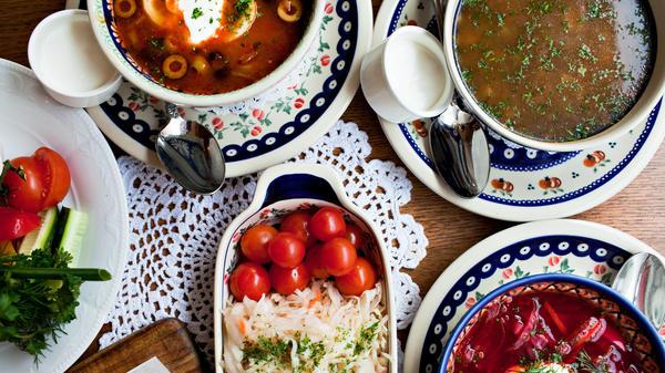 A table loaded with Sochi-style treats at Mari Vanna restaurant in Washington, D.C.
