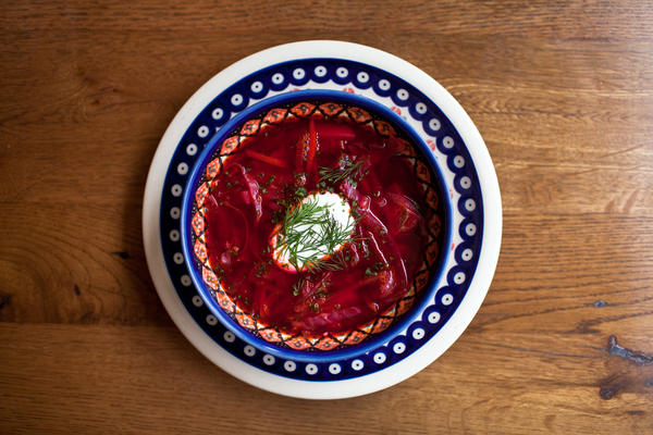 <p>Borscht is one of the great dishes of Russia and Ukraine. It usually includes beets, cabbage, carrots and meat. Don't forget the sour cream.</p><p></p>