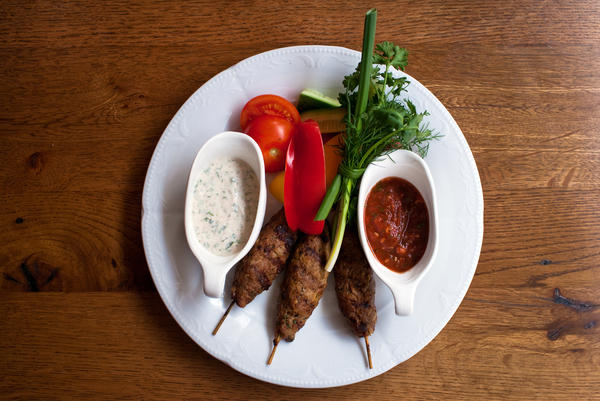 <p>Kabobs are typical of the region, served with adjika, a spicy sauce made with fresh red peppers, garlic and spices. </p><p></p>
