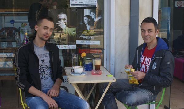 """""""In Greece a man must always be straight,"""" says Petros Sapountzakis (right), a teacher who was attacked by ultranationalists after leaving a theater in 2012. He and his boyfriend, Alex Kantirov, have been together for five years."""