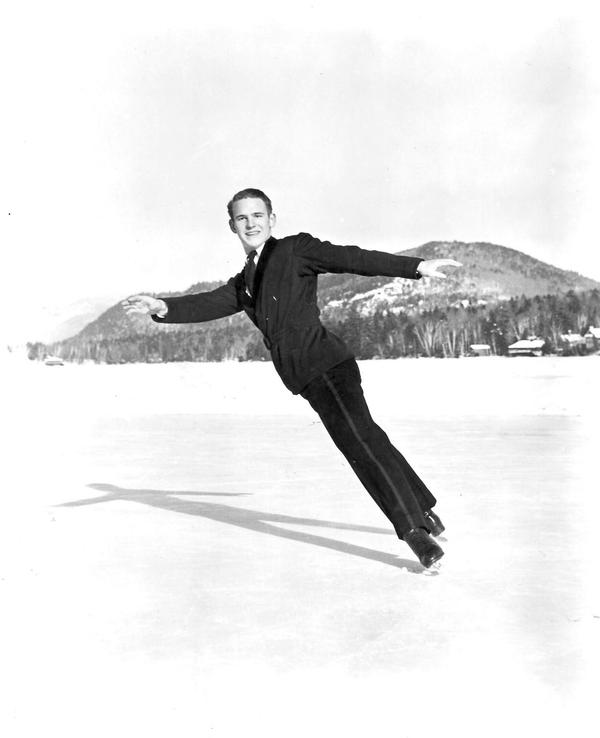"Dick Button does an inside spread eagle on Mirror Lake in Lake Placid. (From ""Pushing Dick's Button"")"
