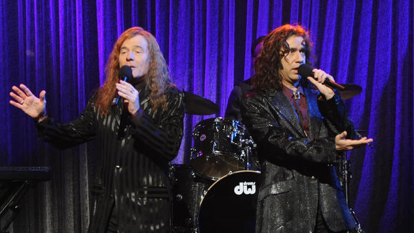 Bryan Cranston and Fred Armisen in character as The Bjelland Brothers, a sibling soft rock duo dreamed up by Armisen for a 2010 sketch on <em>Saturday Night Live</em>.