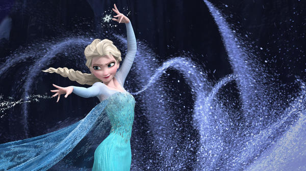 "Queen Elsa embraces her power to freeze things with the anthem ""Let It Go"" in <em>Frozen</em>."