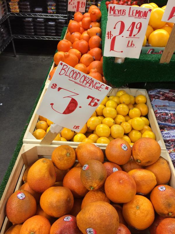 Blood oranges for sale. (Kathy Gunst/Here & Now)