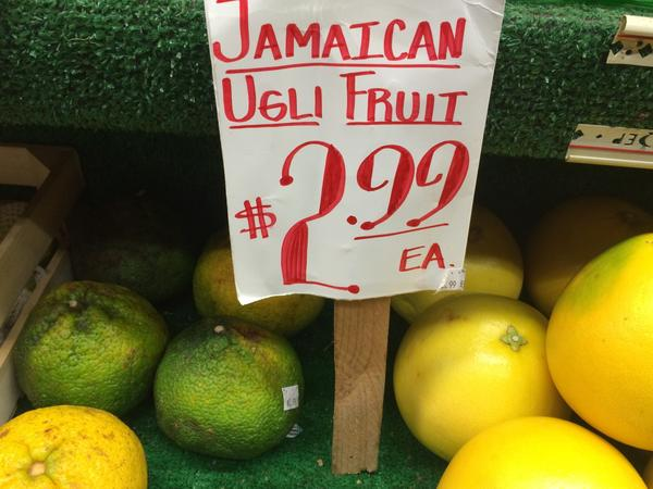 Jamaican ugli fruit for sale. (Kathy Gunst/Here & Now)