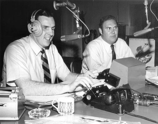 "From 1952 to 1974, the ""Joy Boys"" — Walker (left) and Willard Scott — provided D.C. radio listeners with a daily dose of comedy. Scott went on to work in TV, where he can still be seen on <em>The Today Show; </em>Walker stuck with radio."