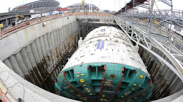 The Seattle tunneling machine known as Bertha, which started its task in July, is now stuck 60 feet underground.