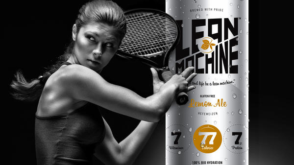 """An ad for Vampt's Lean Machine """"recovery ale,"""" which will be marketed as a sports drink later this year, if funding allows. Researchers say drinking beer after working out has some advantages, but there are big caveats."""