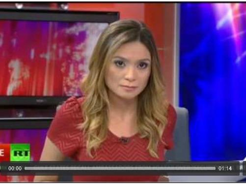 A screenshot of RT anchor Liz Wahl during her final broadcast with the network.
