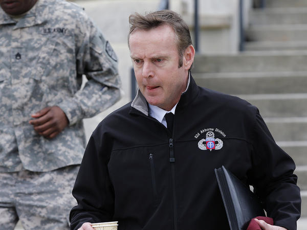 Brig. Gen. Jeffrey Sinclair leaves the courthouse for the day Wednesday at Fort Bragg in Fayetteville, N.C.