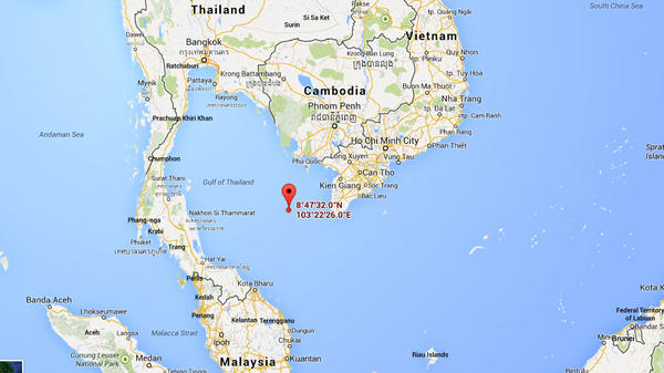 A map shows the spot in the Gulf of Thailand where Vietnamese officials say military planes spotted an object that may be from the missing Malaysia Airlines flight MH370.