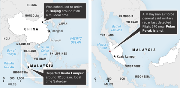 A map showing where authorities are searching for Malaysia Airlines Flight 370.