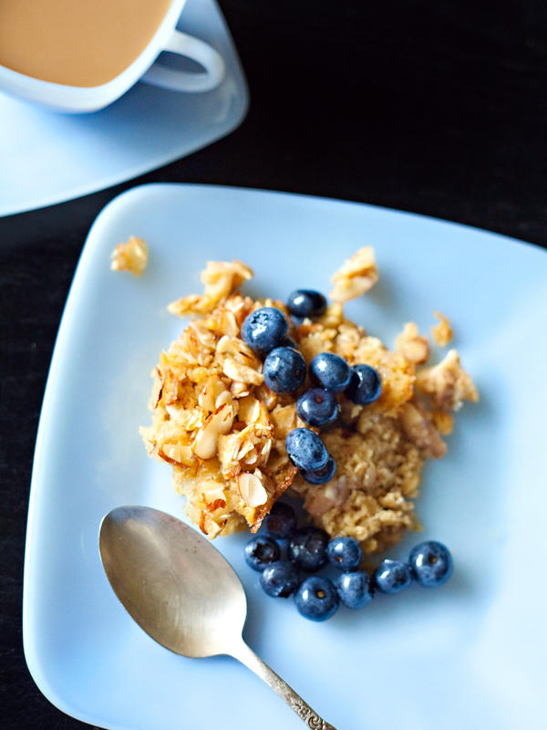 "Baked oatmeal with blueberries, one of the recipes featured in<em> The Arcadia Mobile Market Seasonal Cookbook</em>. ""It's possible to eat healthy on a budget,"" Harris says. ""Not easy, but possible."""