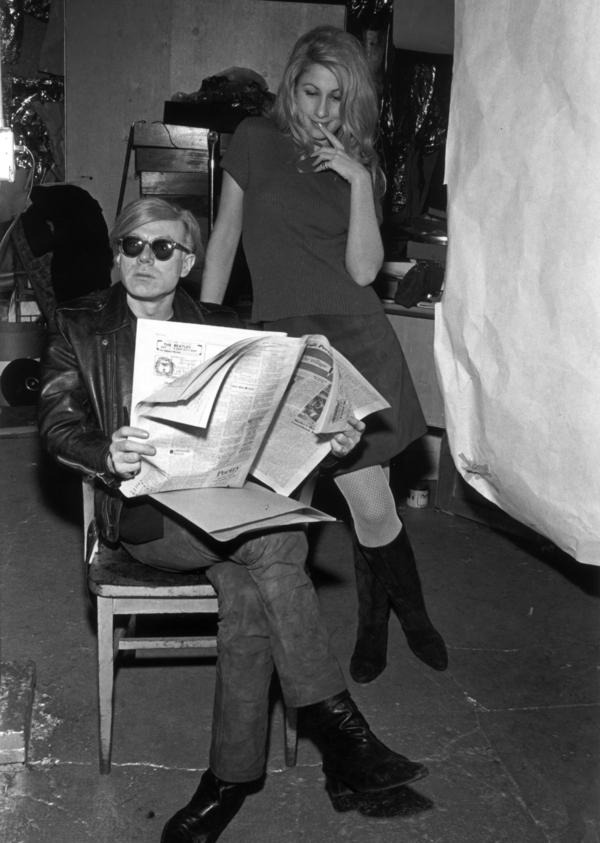 Artist Andy Warhol and Baby Jane Holzer during the filming of Warhol's film <em>Chelsea Girls</em> in 1967.