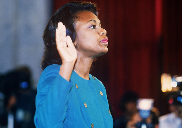 Law professor Anita Hill takes the oath on October 12, 1991, before the Senate Judiciary Committee in Washington D.C. Hill filed sexual harassment charges against U.S. Supreme Court nominee Clarence Thomas. (Jennifer Law/AFP/Getty Images)