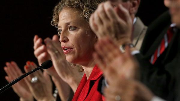Democratic National Committee Chairwoman Debbie Wasserman Schultz speaks to party members during their meeting last summer in Scottsdale, Ariz.