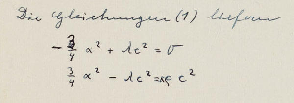 Einstein eventually caught a mistake in the upper equation and wrote over it in pen.