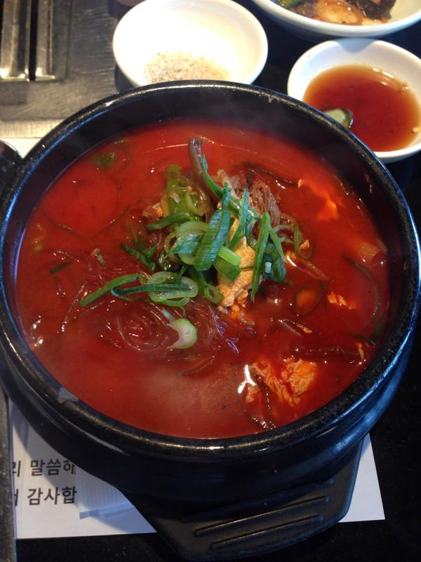 Spicy beef soup at Park BBQ in Los Angeles. (Jeremy Hobson/Here & Now)