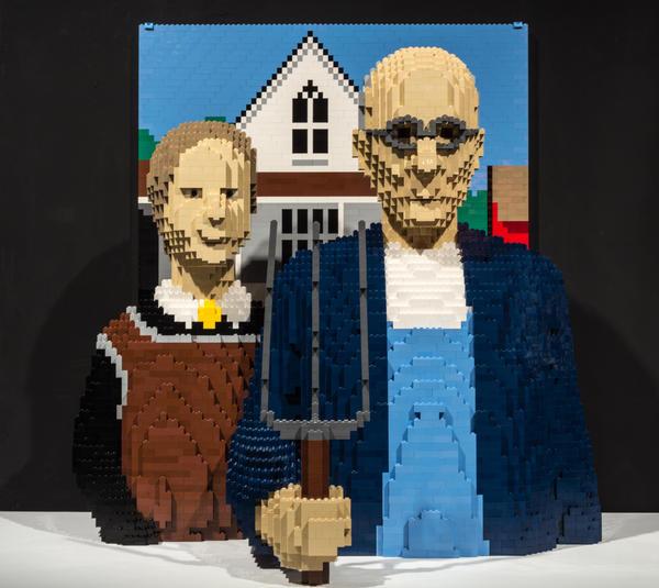 <em>American Gothic </em>by artist Nathan Sawaya.