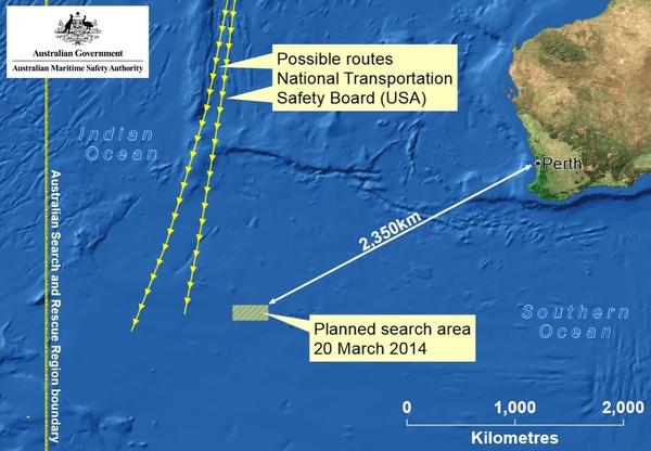 This image adds the routes that investigators believe Malaysia Airlines Flight 370 might have taken.