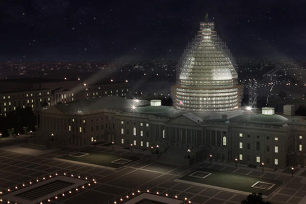 A rendering of the scaffold system that will surround the Capitol dome during the restoration. Most of the work will be done at nights and on weekends.