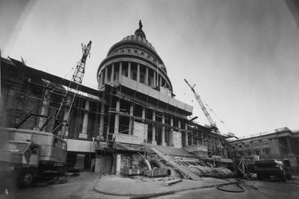 Workers renovating the Capitol in November 1958.