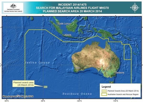 The search area about 1,500 miles southwest of Australia in the Indian Ocean.