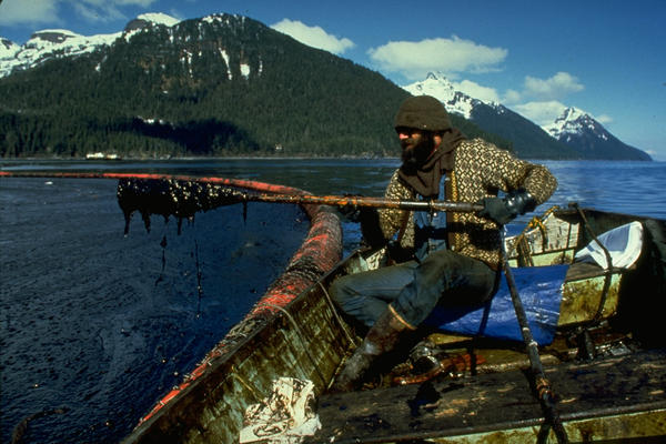 A cleanup worker lifts an oar near a boom in Prince William Sound, Alaska, after the Exxon Valdez oil spill in March 1989.